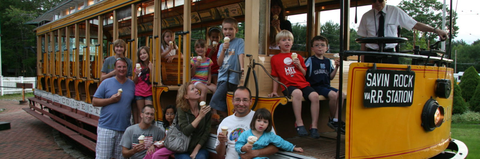 families at Ice Cream and Sunset Trolley Rides