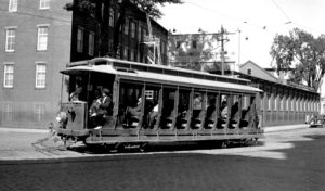 black and white trolley ride